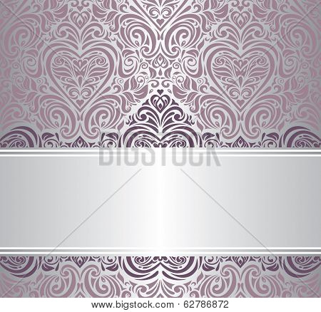 pink & silver vintage invitation design
