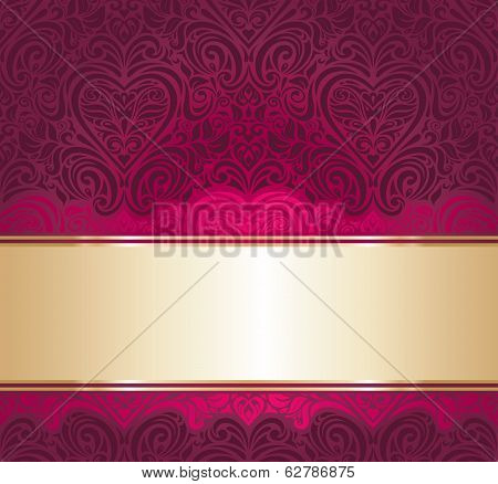 red and gold vintage invitation background