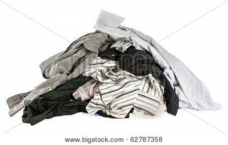 Stacked Used Shirts Isolate On White Bcakground