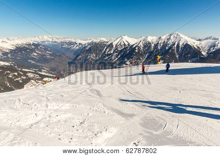 Cableway And Chairlift In Ski Resort In Mountains, Austria. Austrian Alps