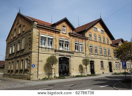 STUTTGART, GERMANY - APRIL 01, 2014: Typical german architecture of a house. Detached house on Bahnhofstrasse.