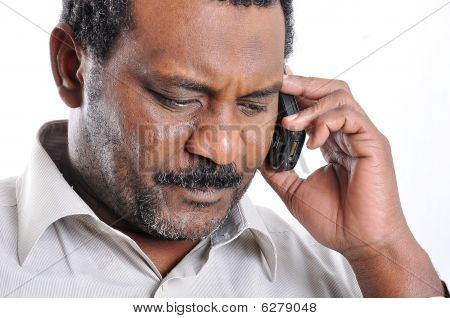 African American Man Speaking On Phone