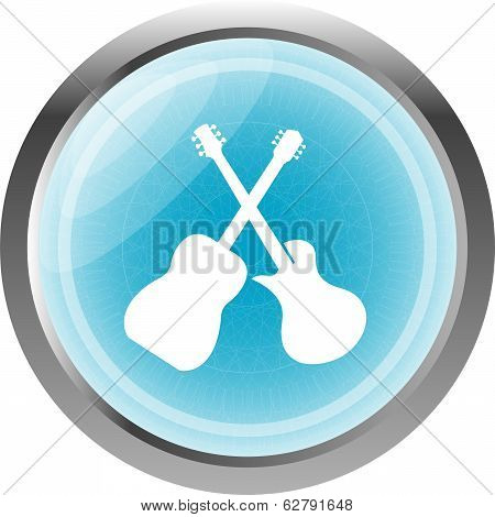 Guitar Icon Isolated On White, Web Button
