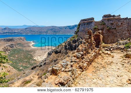 Gramvousa Island In Crete, Greece With Remains Of Venetian Fort And Magical Turquoise Waters, Lagoon