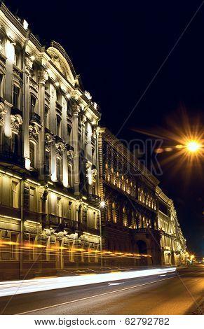 Saint-petersburg Embankment At Night, Russia