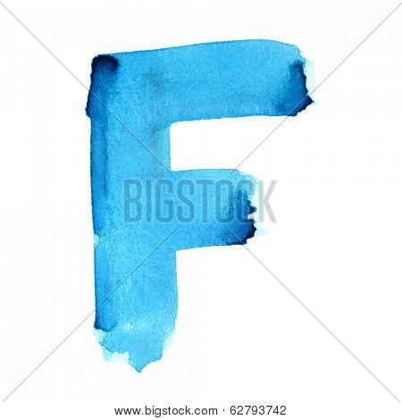 F - Watercolor letters over white background