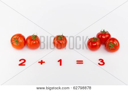 Bright Red Tomatoes And Numbers