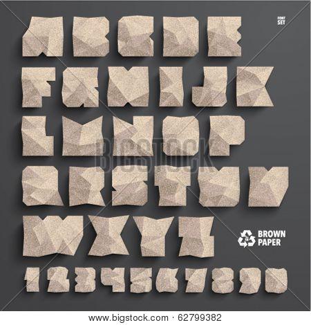 Vector Brown Paper Alphabet Set