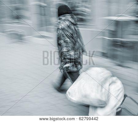 Elderly Woman Carries Bags