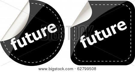 Black Future Stickers Set On White, Icon Button