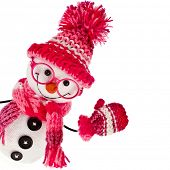 picture of knitted cap  - happy snowman spectacled in  knitted pink hat and scarf and mittens - JPG