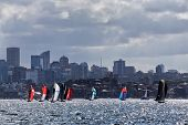18 foot Skiffs racing on Sydney Harbour