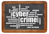 stock photo of cybercrime  - cybercrime word cloud in white chalk on a vintage slate blackboard - JPG