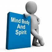 Mind Body And Spirit Book With Character Shows Holistic Books