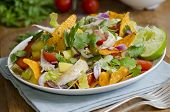 stock photo of crisps  - Spicy chicken mango and jalapeno salad with tortilla crisps - JPG