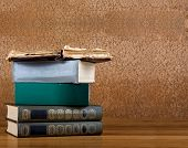 stock photo of poetry  - Pile of old books on a beautiful wooden table - JPG