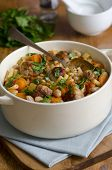 picture of stew pot  - White bean and pasta stew with meatballs in a pot - JPG