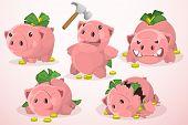 stock photo of piggy  - Set of five pigs - JPG