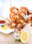 stock photo of tiger prawn  - Fresh made Tiger Prawn on a Skewer - JPG