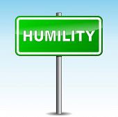 stock photo of humility  - Vector illustration of green humility signpost on sky background - JPG