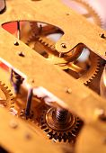 pic of wind up clock  - Close up of an internal clock mechanism
