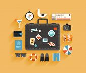 stock photo of holiday symbols  - Flat design style modern vector illustration icons set of planning a summer vacation travelling on holiday journey tourism and travel objects and passenger luggage - JPG