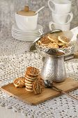Caramel Florentines Cookies On A Wooden Cutting Board poster