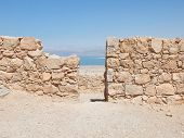 foto of masada  - view of Dead Sea from fortress Masada Israel - JPG