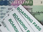 foto of boarding pass  - Schengen visa and air boarding passes - JPG