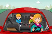 stock photo of seatbelt  - A vector illustration of mother driving with her children riding in the back wearing seatbelts - JPG