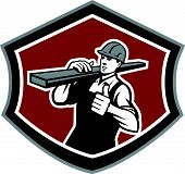 image of lumber  - Illustration of a builder carpenter tradesman construction worker carrying timber lumber wood on shoulder with thumbs up set inside shield crest shape on isolated background done in retro style - JPG