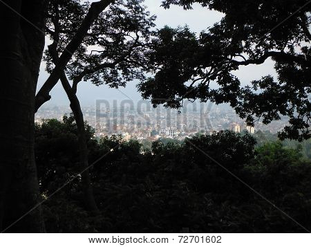 Kathmandu Seen From Height Through Trees