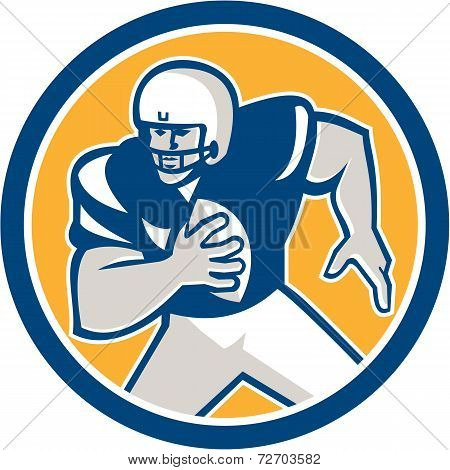 American Football Qb Player Running Circle Retro