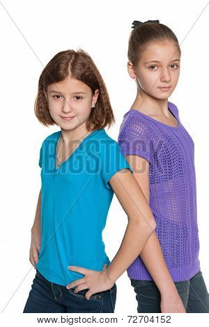 Two Preteen Girls Against The White