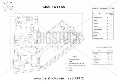 Plan industrial area. Buildings, lawns, fence and lists