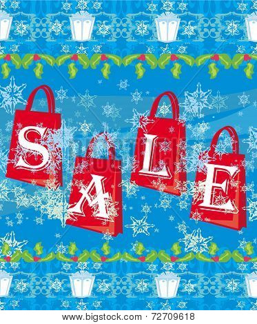 Blue Christmas Background With Sale Offer