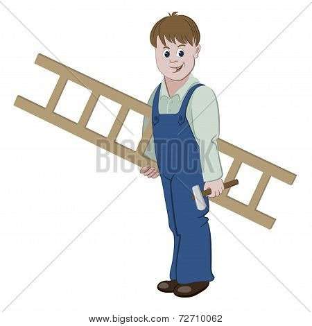 Illustration of repairman or worker standing with a ladder and a hammer