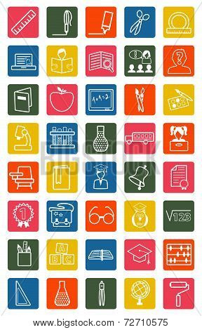 Vector white education icons set on colorful background