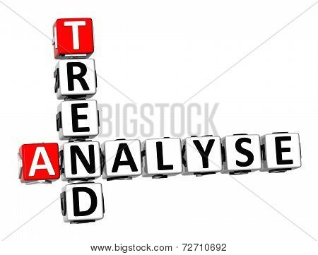 3D Crossword Analyse Trend On White Background
