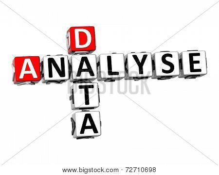 3D Crossword Analyse Data On White Background