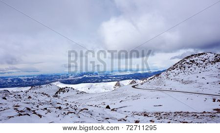 Scenary View Of Pikes Peak National Park, Colorado In The Winter