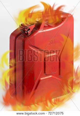 Red Fuel Can With Flames