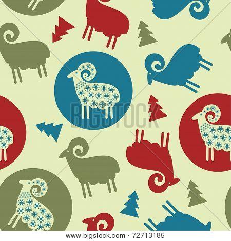 Christmas Tree Pattern Sheep Seamless Design