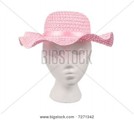 Pink Woven Straw Hat