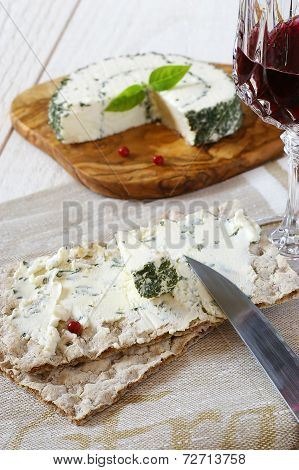 Crispbread And French Cheese And Glass Of Red Wine