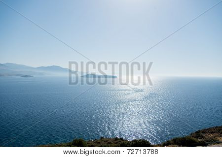 View over the sea from a hill