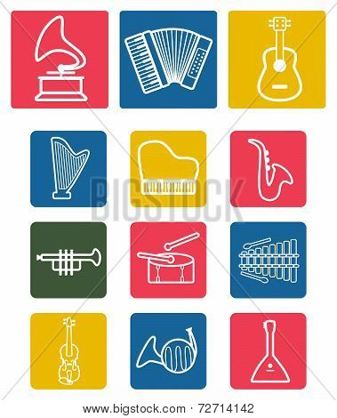 Vector white musical instruments icons set on colorful background