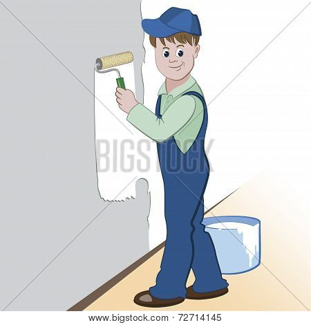 Illustration of worker with roller and paint painting the wall. (painting services design)
