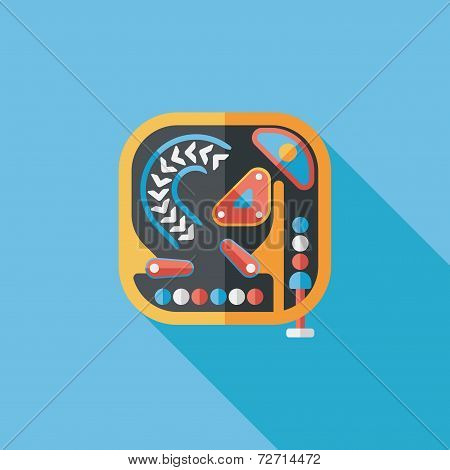 Pinball Flat Icon With Long Shadow