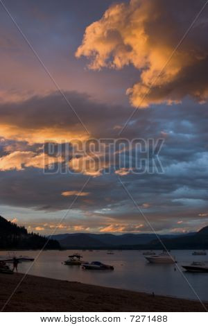 Brightly Colored Cloudscape At The Lake